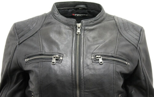 Women's Jacket Black Biker Classic Leather Real vTvwfq8