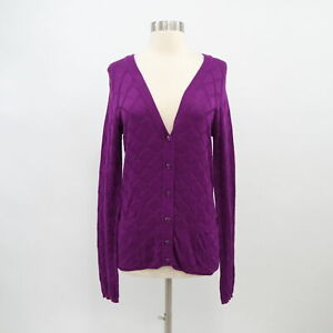 Marc-By-Marc-Jacobs-Cardigan-Sweater-Silk-Womens-M-Medium-Purple-Knit-V-Neck