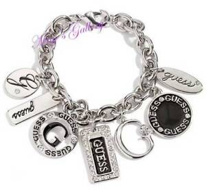 GUESS-Jeans-Rhinestones-Logo-Bangle-Bracelet-Silver-Tone-Charms-NWT