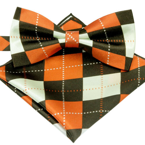 *BRAND NEW*ORANGE/&BROWN ARGYLE CHECKED SILK FEEL BOW TIE/&POCKET SQUARE SET B1028