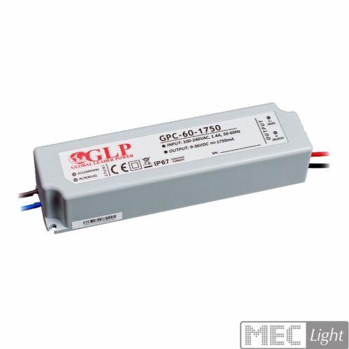 gpc-60-1750 LED Bloc d/'alimentation//transformateur 1750ma courant constant 9-36v DC 63w ip67