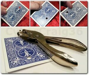 MOVING HOLE MAGIC TRICK PUNCH & BICYCLE PLAYING CARD HOLLOW NEW BLUE GIMMICK WOW