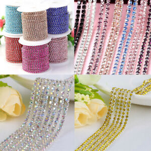 10Yard-Thin-Crystal-Rhinestone-Close-Cup-Chain-Trim-Claw-Chain-Jewelry-Craft-DIY