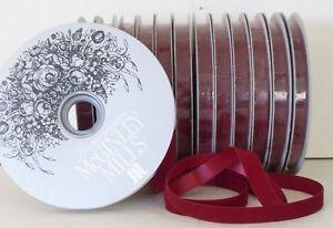 "Ensoleillé #3 Burgundy Christmas Velvet Ribbon 1/2 "" X 25 Yards - Satin Back - Made In Usa Un Style Actuel"
