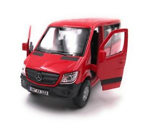 Mercedes-Benz-Sprinter-With-Window-Red-Model-Car-Desired-License-Plate-1-3-4