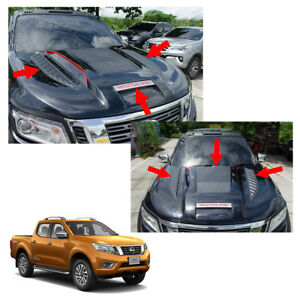 Bonnet Hood Scoop Vent Cover V3 Trim Black Red Fits Nissan NP300 Navara 14 - 17