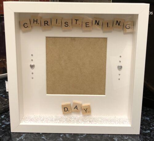 Handmade 3D Photo Frame Scrabble Christening Day Gift Baby Keepsake