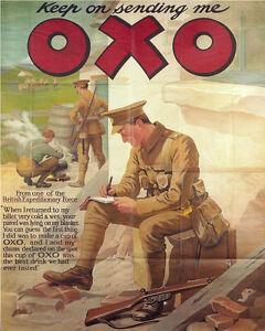Oxo-World-War-Keep-Sending-VINTAGE-ENAMEL-METAL-TIN-SIGN-WALL-PLAQUE