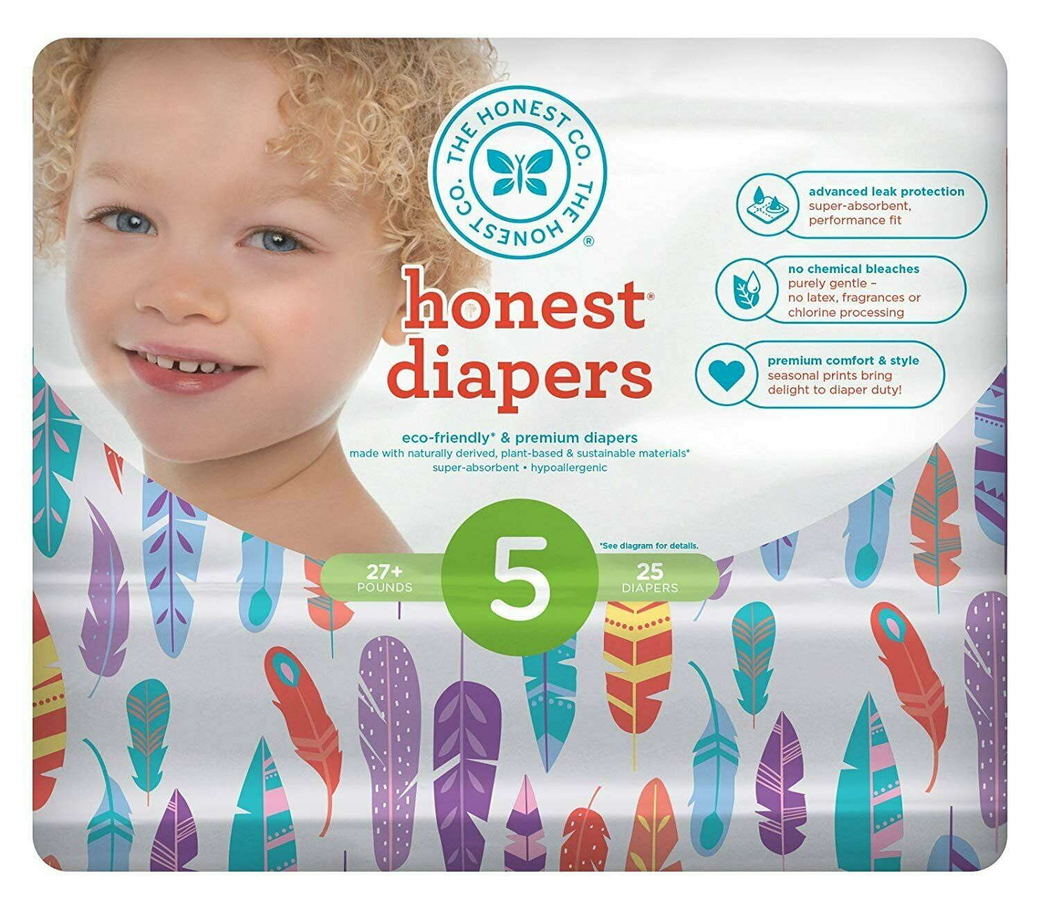 Size 5 Multi-colored Giraffes The Honest Company Diapers 23 count