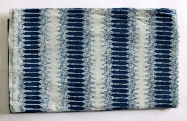 Hand Block Print Indigo Blue Dabu Print Cotton Ikat Fabric Vegetable Dye