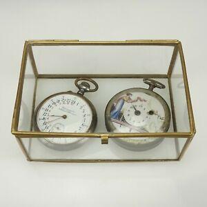 Taschenuhren-Etui-Glas-Vitrine-Dose-fuer-gold-silber-uhren-spindel-chronometer