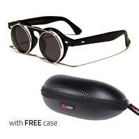 Cool Flip Up Lens Steampunk Vintage Retro Round Sunglasses Silver Free Case c