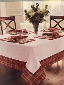 Image Is Loading Waterford Linens White Middleton Plaid TableCloth 70X126  Tartan
