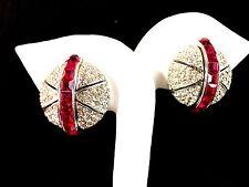 SENSATIONAL CINER RUBY RED PAVE CRYSTAL RHINESTONE ART DECO GLOBE CLIP EARRINGS