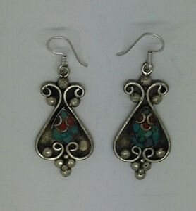 Asian-sterling-silver-earrings-handmade-ethnic-hook-classic-tops-turquoise-ERU2