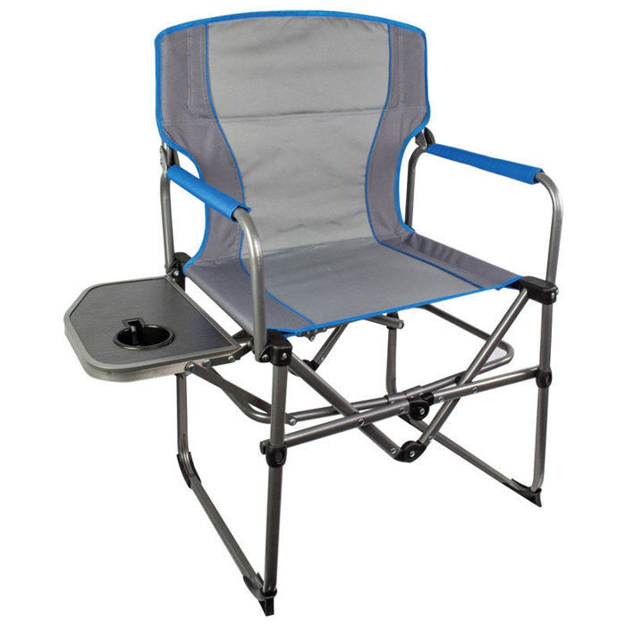 Highlander Steel Camping Directors Chair With Side Table Camping Hiking Grau