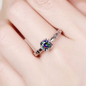 Exquisite-925-Argent-Femmes-Fashion-Jewelry-RAINBOW-WHITE-TOPAZ-Gemstone-Ring