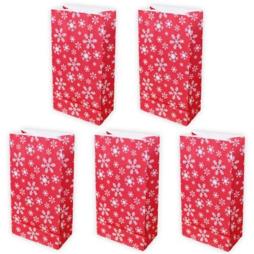 7,5 x 12cmGeschenktüte Weihnac 5 Papiertüten Schneeflocken ROT//WEIß H 23cm