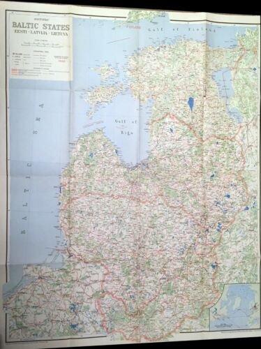 Baltic State 1954 map printed in Montreal, Estonia, Latvia, Lithuania. G99