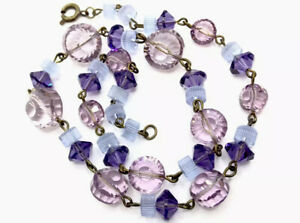 Vintage-Wired-Crystal-Glass-Purple-Mauve-Shaped-Bead-16-Necklace-GIFT-BOXED
