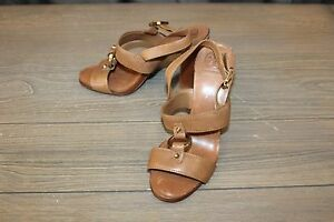 Tory-Burch-Women-039-s-Fletcher-High-Heel-Sandal-Size-9-5-M-Tan