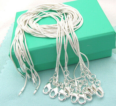 XMAS wholesale 925sterling solid silver 10pcs 1mm snake chain necklace 16-30inch