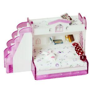 1-12-Puppenhaus-Miniaturmoebel-Doppelstockbett-fuer-Schlafzimmerzubehoer