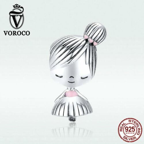 Voroco Girl mate Pendant 925 Sterling Silver Charm CZ To Women Bracelet Necklace