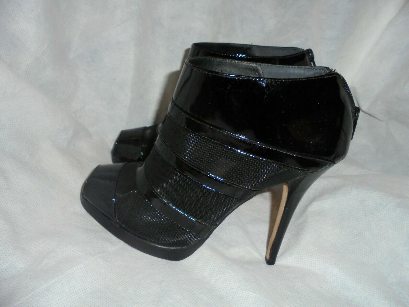 KATE KUBA LADIES schwarz LEATHER RUBBER ZIP UP PEEP ANKLE Stiefel Größe UK 7 EU 40 VGC
