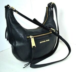 ea09613c02f3a Image is loading AUTHENTIC-MICHAEL-KORS-Black-Genuine-Leather-Hobo-Shoulder-