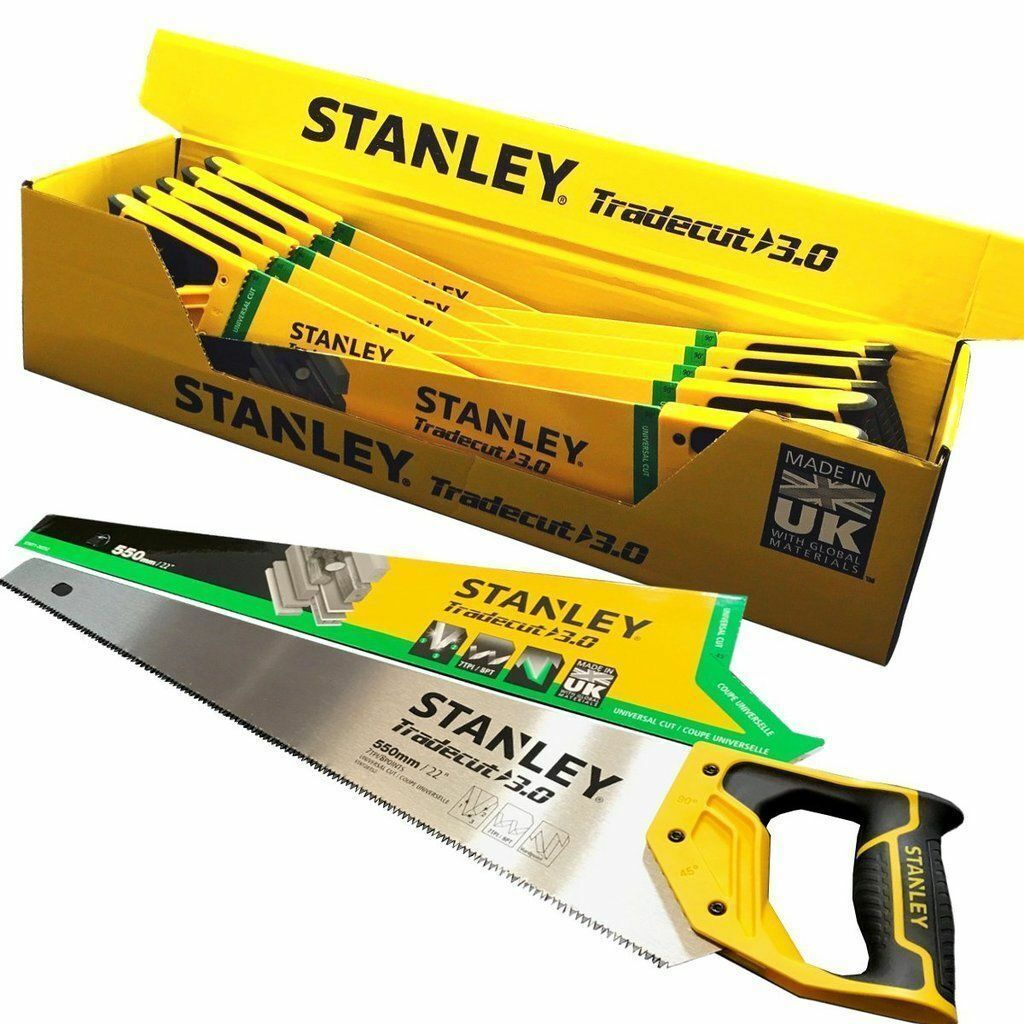 BOX OF 10 Stanley 22  TradeCut 3.0 Sharp Wood Saw Universal Fast Cut Hand Saw