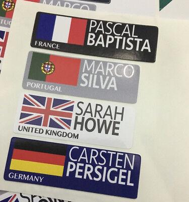 4x Personalised Name /& Flag Cycling Helmet Frame Bike Team Sticker 10mm Decal