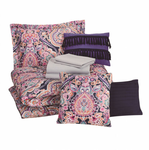 Bedding Set King 10-Piece Bed In A Bag Multicolor Medallion Machine Washable