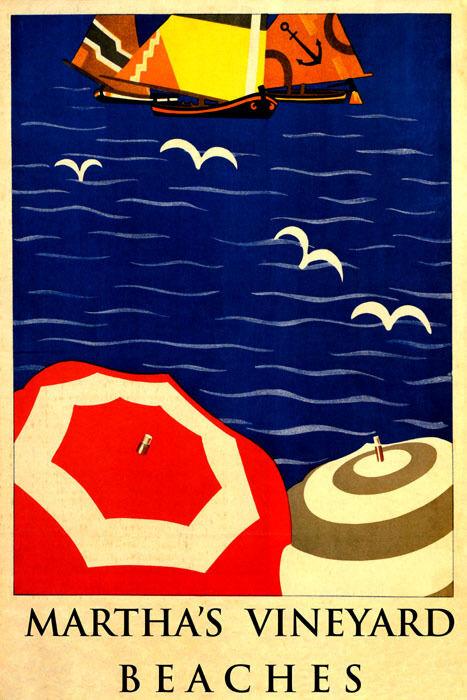 blu OCEAN UMBRELLAS SAILBOAT MARTHA'S VINEYARD BEACHES VINTAGE POSTER REPRO