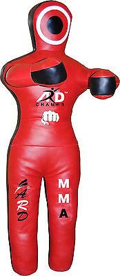 Black//Red ARD Brazilian Grappling Kneeling Dummy MMA Wrestling Judo Art Leather