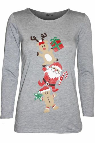 Womens Ladies Long Sleeve Elf Costume Belted Xmas Christmas Stretchy T Shirt Top