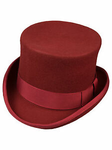 Zylinder-Made-in-England-Wolle-Rot-Top-Hat-Burgundy-Tophat-Wool-Red-Hut-5000