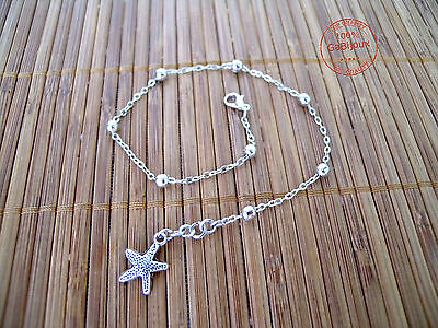Edary con ciondolo a forma di stella marina in argento per donne e ragazze Cavigliera a strati