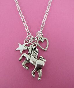 """Girls Silver Unicorn Heart /& Star Charms Silver 18/"""" Necklace New in Gift Bag"""
