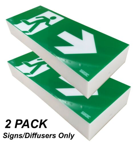 2x 10W Emergency Exit Light SIGN ONLY Sign Wall Mount Single Sided RIGHT RM2