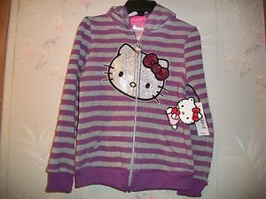 120b6e572656 Hello Kitty Toddler Girl s Purple   Heather Grey Striped Hoodie Size ...
