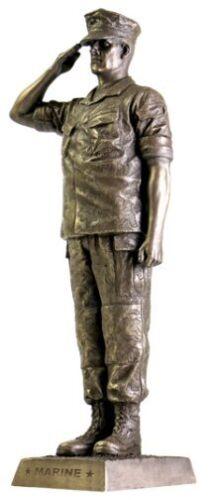 "Khaki Army Marine Salute KA301 12.75/"" Tall Bronze Finish Military Statue NEW!"
