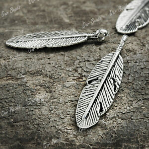 50-Pcs-Tibetan-Silver-Leaf-Charms-Pendants-Drops-TS917