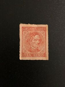 Early US Stamp Confederate States Jefferson Davis 10c Red Carmine Rose ? Unused
