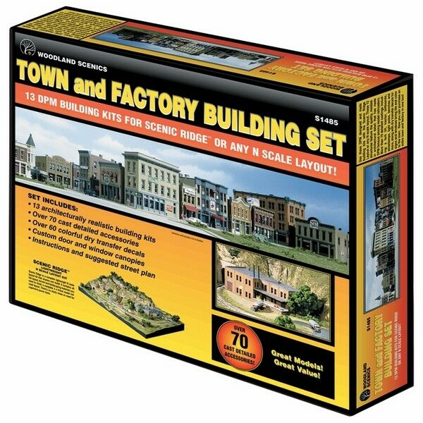 WOODLAND SCENICS WS-S1485 TOWN & FACTORY N BUILDING SET