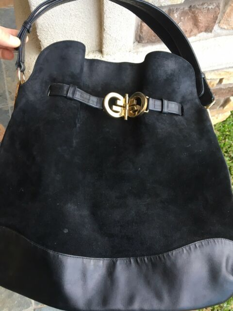 1cca8c10372 RARE Vintage GUCCI GG Medallion Belted LEATHER Black Suede HOBO Bag  Authentic