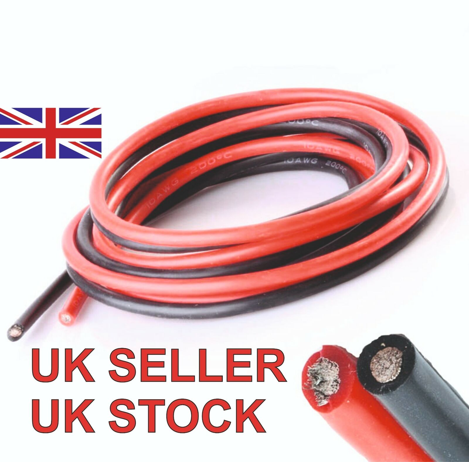 Silicone Wire Cable 8 AWG 1 Metre Each Red + Black Soft Flexible High Quality UK