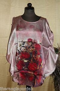 Kaftan-Tunika-mulberry-silk-satin-Seide-rot-uni-size-gebluemt-77-cm-Handwaesche