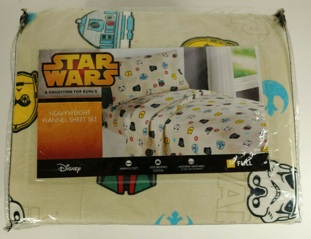 Star Wars Themed Heavyweight Flannel Sheets Size Full Cotton 4 Piece Set New For Sale Online