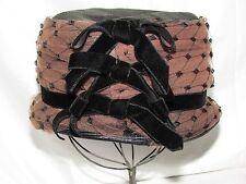 Vtg Black Velvet Pink Hat Womens 1920s 30s 40s Small Medium Cloche Dressy Church